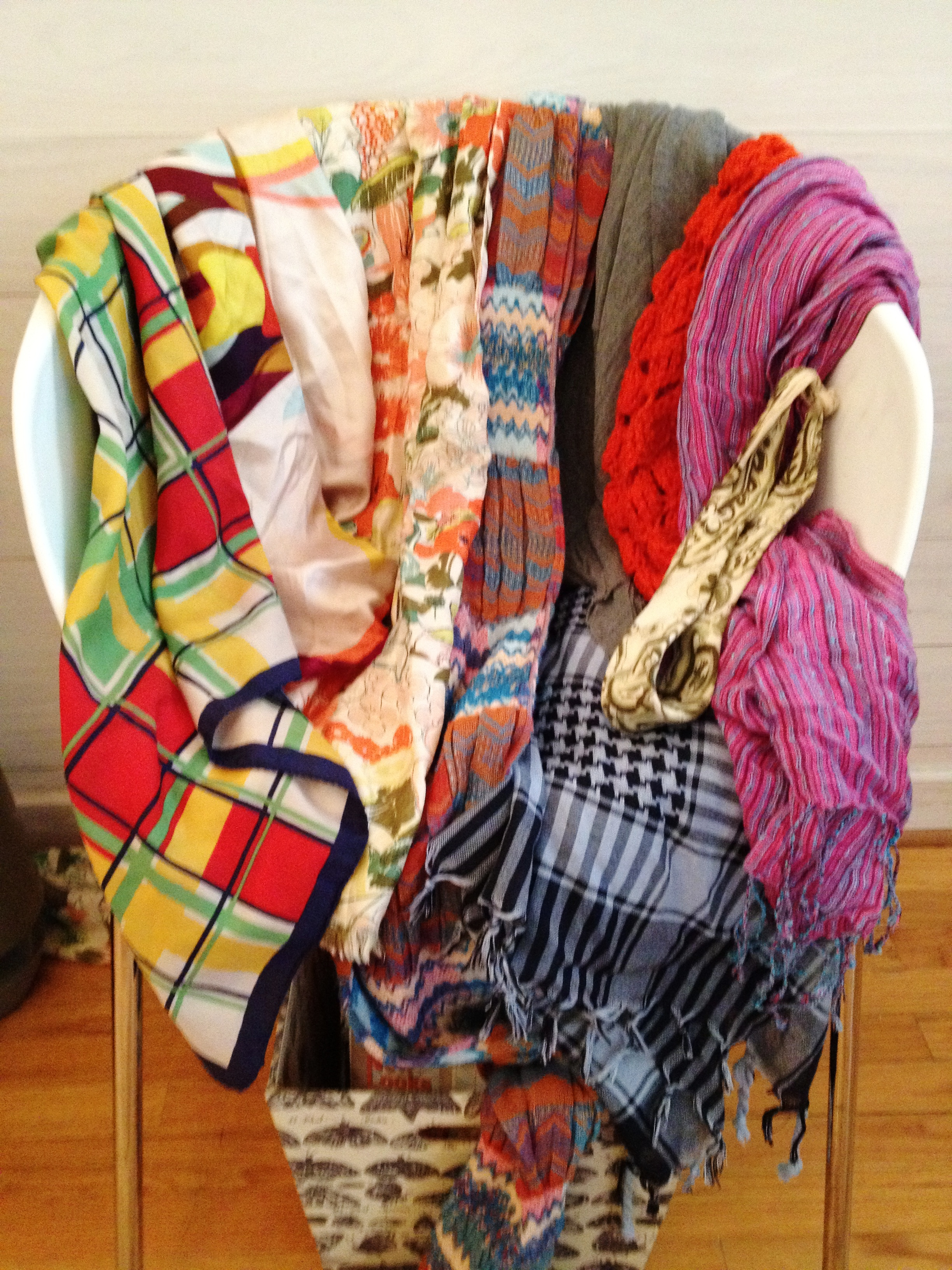1ec991ed45f29 I may have a slight problem. I love scarves. These are just a few I have.  Some are new   some are vintage. I love adding these to simple pieces like  ...