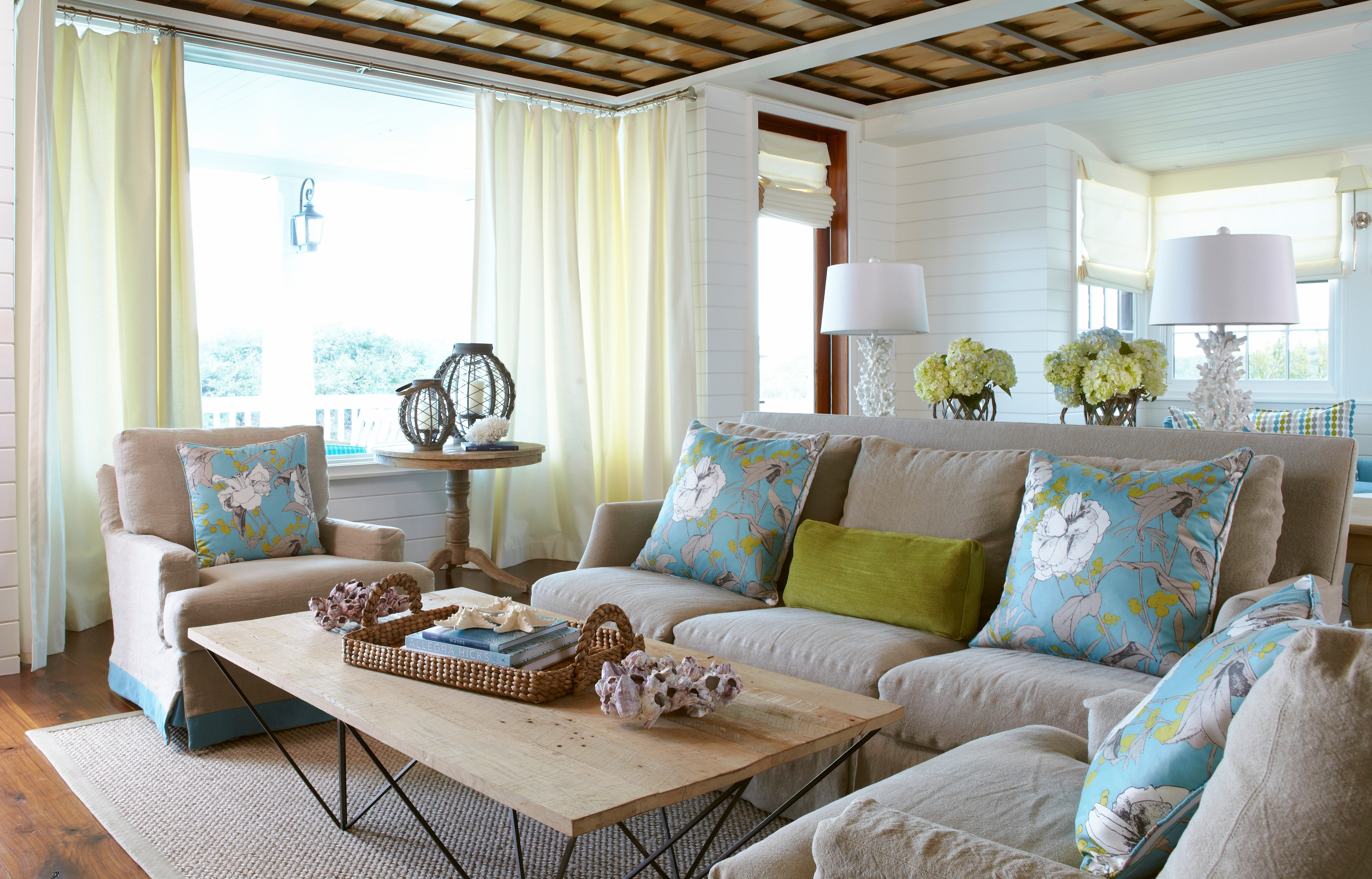 Beach escape living room our blog for Room design green