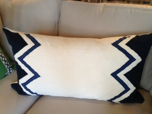 Aren't these oversized lumbar pillows adorable? I LOVE the navy and geometric pattern! They come in a few patterns and retail for $351 at our Rosemary shop