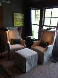 Copley Chairs, Originally $1,755, Now $877.50 EachMatching Ottoman, $330.20